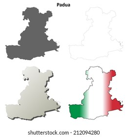 Padua blank detailed outline map set - vector version