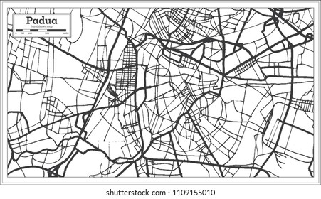 Padua Italy City Map in Retro Style. Outline Map. Vector Illustration.