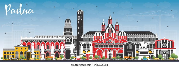 Padua Italy City Skyline with Color Buildings and Blue Sky. Vector Illustration. Business Travel and Concept with Historic Architecture. Padua Cityscape with Landmarks.
