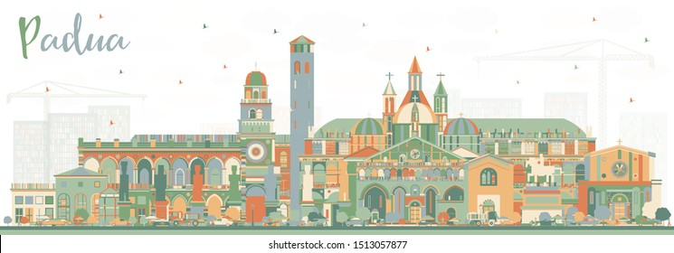 Padua Italy City Skyline with Color Buildings. Vector Illustration. Business Travel and Concept with Historic Architecture. Padua Cityscape with Landmarks.
