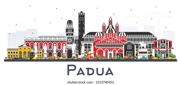 Padua Italy City Skyline with Color Buildings Isolated on White. Vector Illustration. Business Travel and Concept with Historic Architecture. Padua Cityscape with Landmarks.