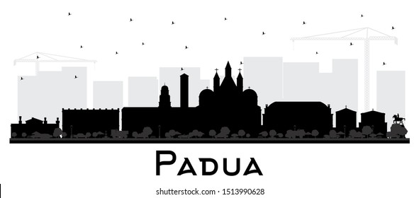 Padua Italy City Skyline Silhouette with Black Buildings Isolated on White. Vector Illustration. Business Travel and Concept with Historic Architecture. Padua Cityscape with Landmarks.