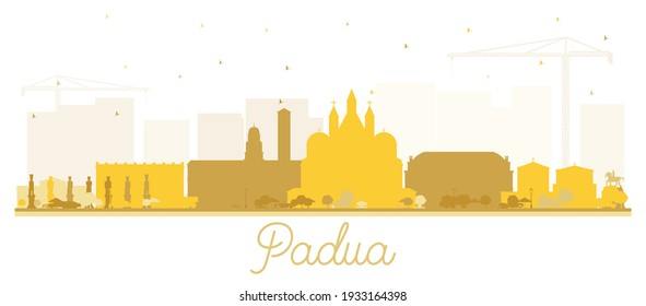Padua Italy City Skyline Silhouette with Golden Buildings Isolated on White. Vector Illustration. Business Travel and Concept with Historic Architecture. Padua Cityscape with Landmarks.