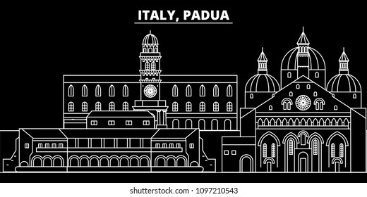 Padua silhouette skyline. Italy - Padua vector city, italian linear architecture, buildings. Padua travel illustration, outline landmarks. Italy flat icons, italian line banner