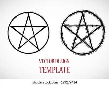 Pagan symbol in Grunge, old style. Star Logo. Vector Illustration.