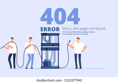 Page 404 error concept. Sorry, page not found web site template with server and network administrators. Vector background. Illustration of trouble page website, network problem