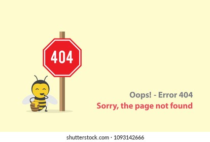 page with a 404 error  or File not found icon with bee honey eat honeycomb in honeypot jar in 404 sign red warning. Template reports that the page is not found. Isolated vector illustration.