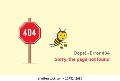 page with a 404 error  or File not found icon with bee honey tired fly and holding honeypot in 404 sign red warning. Template reports that the page is not found. Isolated vector illustration.