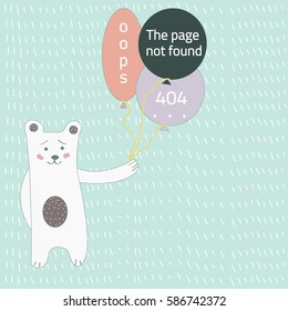 Page with a 404 error in the funny style with white bear. Template reports that the page is not found. Vector illustration.