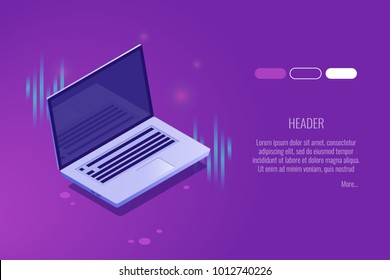 Page of authorization, Digital technologies banner with   laptop, Personal account concept isometric vector illustration
