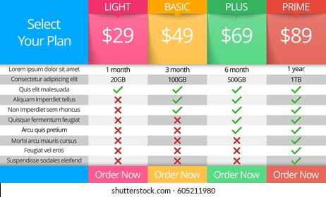 Page and business infographics table pricing.
