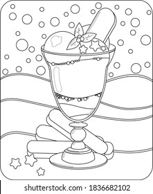 Сoloring page and colorful designs for coloring book: Cristmas Ice cream with cookies and berries