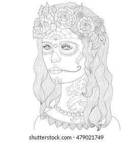 Page coloring for adults, beautiful girl with make-up, death mask, Hand drawn adult coloring page, Drawing zentangle, Outline vector illustration, girl with make-up for Halloween