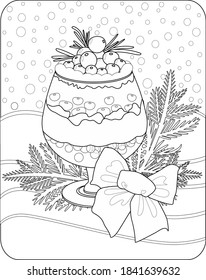 Сoloring page for coloring book: Christmas dessert with blueberry, rosemary and tree