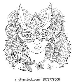 Page for coloring book. Girl in a mask in the style of Zen art. Anti-stress coloring pages for adults and children. contour drawing.