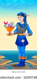 Page of cups, tarot card. Vector illustration