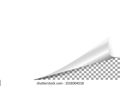 Page curl corner on blank sheet of paper. The rolled angle of the magazine. Vector illustration