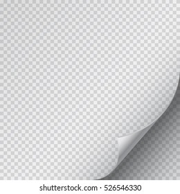 Page curl corner on blank sheet of paper. Fold paper sticker with flip edge isolated on transparent background. Vector peel of page for your design.