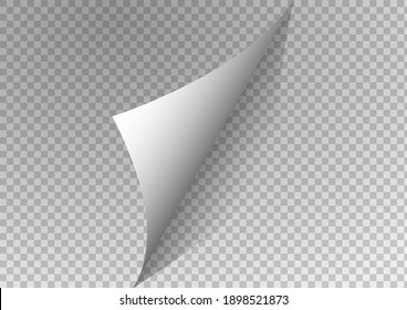 Page curl with shadow on blank sheet of paper. White paper sticker. Vector illustration for your design and business