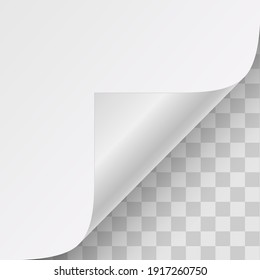 Page curl with shadow on a blank sheet of paper. Vector illustration.