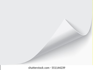 Page curl with shadow on blank sheet of paper.
