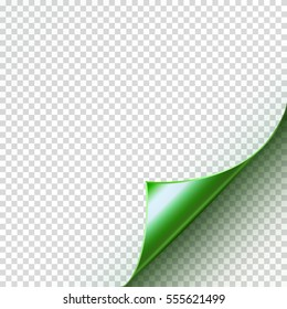 Page curl with shadow on blank sheet of paper. Vector green empty paper sticker. Note turned corner on transparent background for your design.