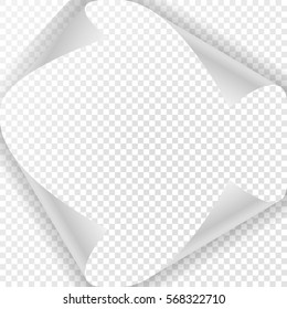 Page curl with shadow on blank sheet of paper. White paper sticker. Element for design and business. It is used on any background and any angle.