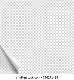 Page curl with shadow on blank sheet of paper. Vector element for advertising and promotional message. Isolated vector illustration on transparent background. For your design and business.