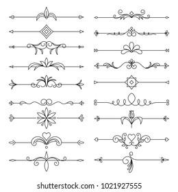 Page decor, borders and dividers decorative vignette elements