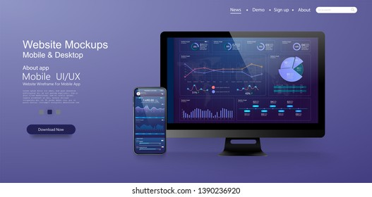 Page design templates for data analysis,management app, analysis data and Investment. Application laptop with business graph and analytics. Perfect for web design, banner and presentation. Vector
