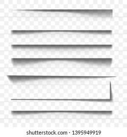 Page divider. Line paper design panel. Set of Transparent shadow realistic effects illustration.