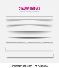 Page divider. Transparent realistic paper shadow effect collection. Vector illustration for web banner, design template.