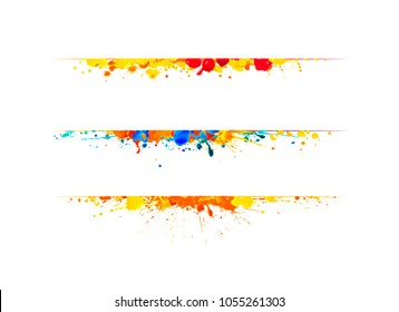 Page dividers of watercolor splash paint. Vector