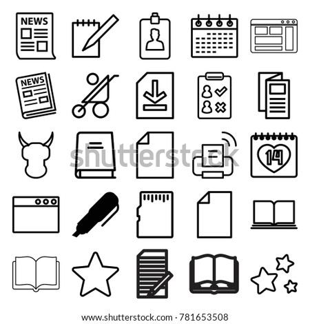 Page Icons Set 25 Editable Outline Stock Vector Royalty Free