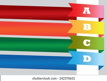 Page layout design with four wrapped around banner ribbons in vibrant color with copy space for own text