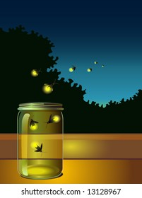 page layout with fireflies escaping jar