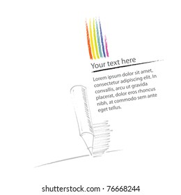 Page layout, with rainbow and pencil icon, simple linear drawing (vector)