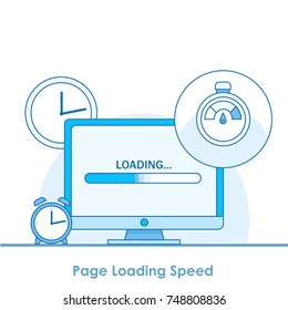 Page loading speed banner. Computer with clock and load optimization check. Vector flat illustration