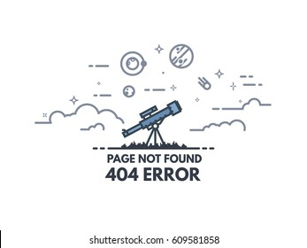 Page not found 404 design tamplate. 404 error page flat line concept. Link to a non-existent page. Telescope searching planets and stars in the sky. Clouds and cosmos view