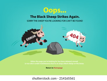 Page not found, 404 error. Black sheep chasing white sheep concept.