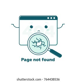 Page not found concept, 404 error web page with cute cartoon face. Flat line illustration concept for web and mobile design. Design tamplate Link to a non-existent page. Broken magnifier searching.