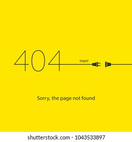 page not found, error 404, socket, connection error, flat style, abstract background for web page, error page with humor