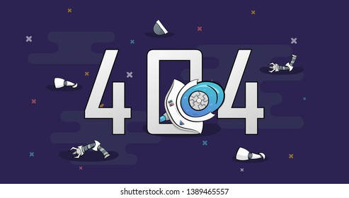 Page Not Found Error 404. A hand drawn vector layout template of a broken robot for your website projects, 3d AI-robot 404 page.
