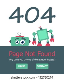 Page not found Error 404 layout. Template with broken robot. Funny layout for web page