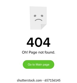 Page not found Error 404 layout. Template with paper board and sad smile funny layout for web page