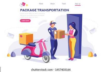 Page, Package, Office Postage Website. Packing Warehouse. Web Carry Transportation. Concept for Web Banner Infographics Hero Images. Flat Isometric Vector Illustration Isolated on White Background
