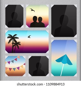 Page of photo album with photo frames and corner. Vector.