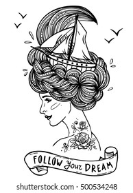 Page with print for adult coloring book. Hand drawn portrait of a dreaming young beautiful woman with ship in waves of curly sea-like hair and rose tattoo. Zentangle, fashion, marine, vintage ribbon.