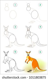 Page Shows How To Learn Step By Draw A Cute Kangaroo Developing Children
