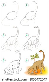 Page shows how to learn step by step to draw a cute dinosaur. Developing children skills for drawing and coloring. Vector image.